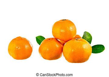 apelsin, frukt, med, bladen, vita, bakgrund