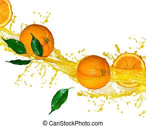 apelsin, frukter, och, plaska, juice, i rörelse