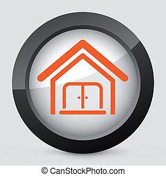apelsin, grå, icon., vektor, isolerat
