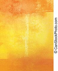 apelsin, gul, grunge, bakgrund