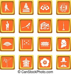 apelsin, korea, sätta, syd, ikonen