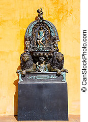 apelsin, lejon, staty, bakgrunder