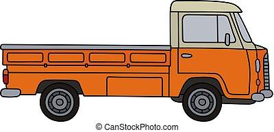 apelsin, liten, lastbil
