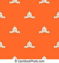 apelsin, mönster, vektor, träd, jul