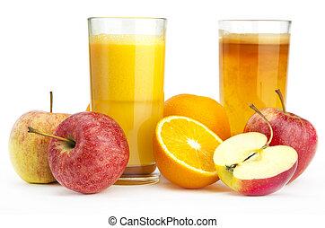 apelsin, och, äppelmust, mot