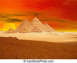 apelsin, pyramid, sunse