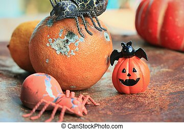 apelsin, röta, halloween, dag