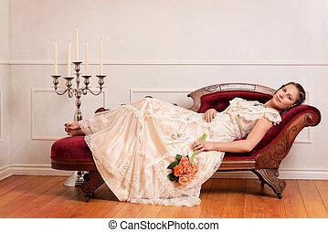 apelsin, ro, viktoriansk kvinna, couch