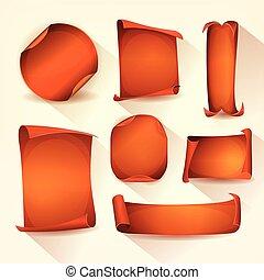 apelsin, sätta, rulla, märken, pergament