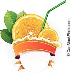 apelsin, saftig, andelar