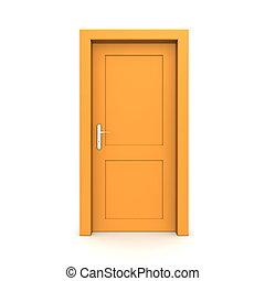 apelsin, singel, dörr, stängd