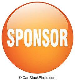 apelsin, sponsor, gel, knapp, runda, trycka, isolerat