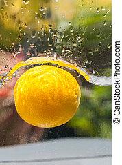 apelsin, stjärnfall, just, nedanför, den, vatten