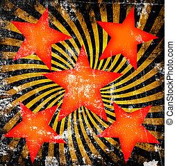 apelsin, stjärnor, med, snurra, på, grunge, bakgrund