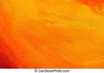 apelsin, struktur, målad