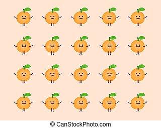 apelsin, tecknad film, mönster