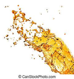 apelsin, vatten, plaska, isolerat, vita