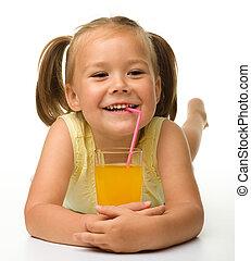 apelsinsaft, liten flicka, drycken
