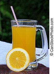 apelsinsaft, med, delad, apelsin