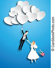 apenas casado, pareja, vuelo, con, un, corazón formó, globo
