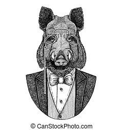 Aper, boar, hog, wild boar, hog, Hipster animal Hand drawn...