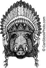 aper, boar, hog, wild boar Wild animal wearing inidan...