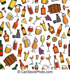 Aperitif drinks and cocktails seamless pattern - Aperitif...