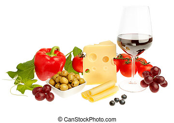 Aperitif of fruits and vegetables wine and cheese. On a white background.
