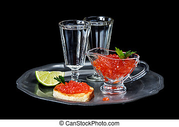 Aperitif - Sandwiches with red caviar and two glasses of ...