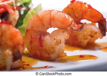 aperitivo, com, camarões