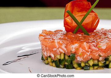 aperitivo, de, salmão, e, pepino