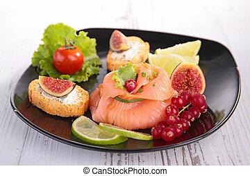 aperitivo, salmón fumado, baya