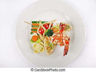 aperitivos, delicioso, lotes, vegetales, -, alimento, dulces, alimento, catering., mar, boda, fruits, bebidas