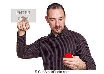 apertando, homem negócios, touchscreen, entrar, botão