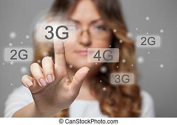 apertando, touchscreen, mulher, 3g, botão