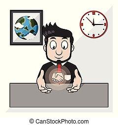apertar as mãos, homem negócios, vetorial, ilustração