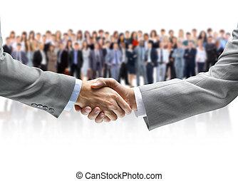 apertar mão, e, equipe negócio