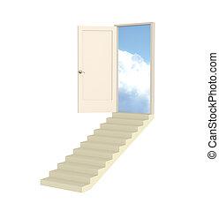 aperto, 3d, porta, condotta, in, paradiso