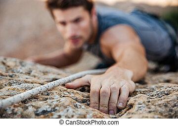 aperto, alcançar, subidas, enquanto, rocha, homem, ele