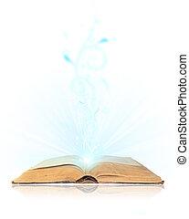 aperto, bianco, libro, magia