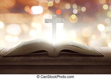 aperto, bibbia santa, con, legno, croce, medio