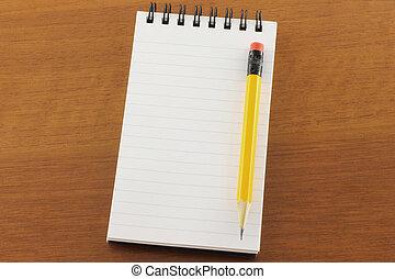 aperto, blocco note, matita
