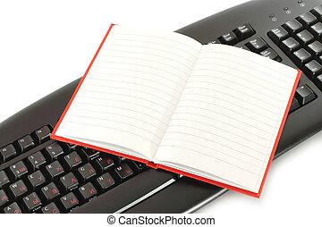 aperto, blocco note, tastiera