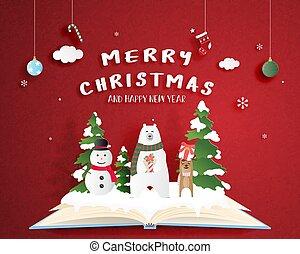 aperto, celebrazione, rosso, pupazzo di neve, taglio, manifesto, fondo, carta, polare, digitale, decoration., cervo, art., natale, mestiere, libro, felice, orso, style.