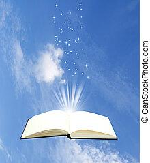 aperto, cielo, libro, magia, fondo