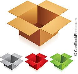 aperto, colorare, scatole cartone