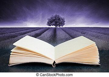 aperto, composito, lavanda, concettuale, libro, immagine, bello, campo, paesaggio, malva, albero, toned, singolo