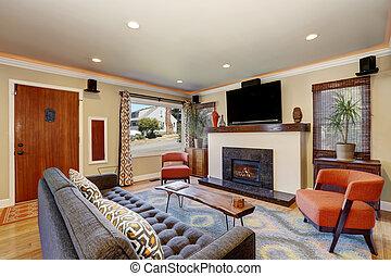minimalista stanza vivente lampada standard divano