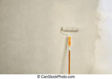 aperto, contra, wall., escova, laranja, rolo