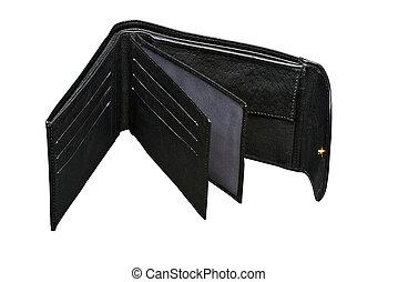 aperto, cuoio nero, portafoglio, (, percorso tagliente, )